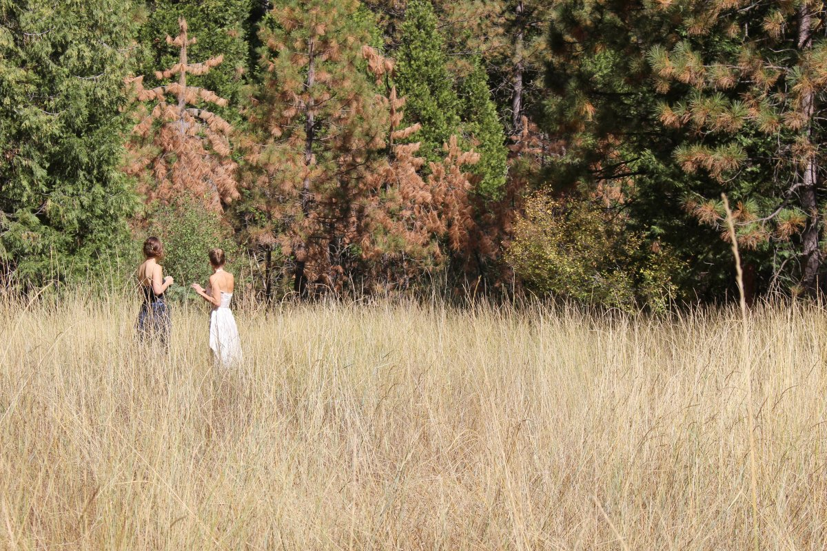 Two women stand in a wild grass meadow
