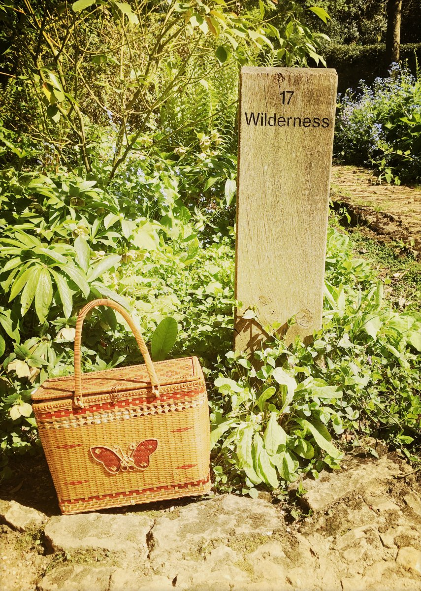 """Picnic basket placed next to a signpost for """"Wilderness"""""""